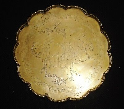 ANTIQUE CHINESE HAND ENGRAVED BRASS TEA TRAY 26 cm DIAMETER