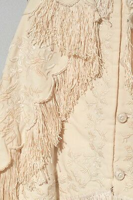 2 Pc Antique Victorian Ivory Wool Coat Cape Set Embroidered Baby Toddler Childs