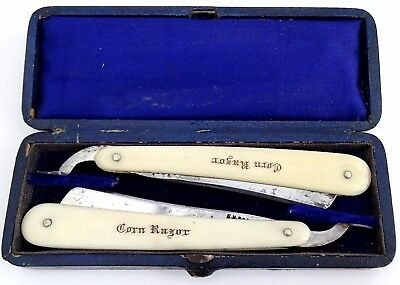 Antique Medical Foot Corn Small Cut Throat Razor Set In Wood & Leather Case