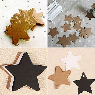 100X Star Kraft Paper Wedding Party Favor Gift Card Price Label Luggage Tags GE