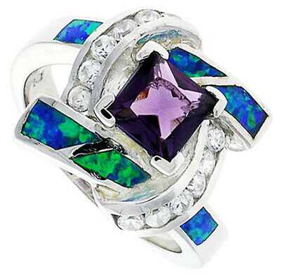 Women Silver Rhodium Plated Opal Inlay Knot Ring Princess Cut Violet Purple 16mm