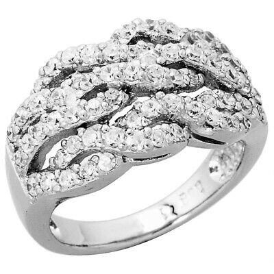 Women 925 Sterling Silver Rhodium Plated, Crisscross Ring Band