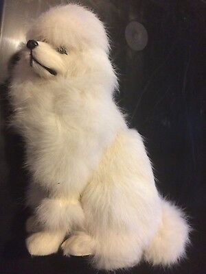 Realistic Med. Sitting Poodle Real Rabbit/Goat Fur Animal Figurine