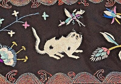19th C. Qing [Ching] Dynasty Chinese Silk Embroidered Black Trim with Cat
