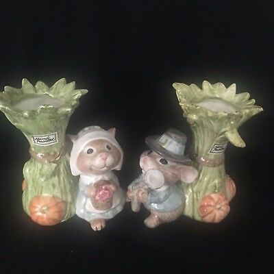 2 Fitz & Floyd Pilgrim Mouse Mice with Sheaf of Wheat Candle Holders or Vases