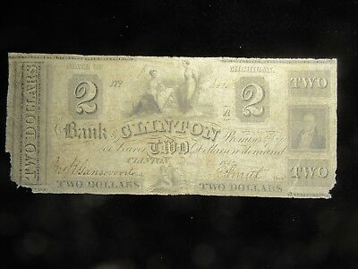 1854 $2.00 Bank Of Clinton Michigan Obsolete Note