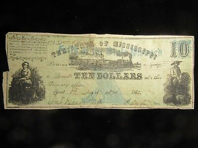 1862 $10.00 State Of Mississippi Obsolete Note. Civil War