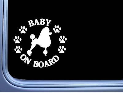 "Baby on Board Poodle L483 6"" Sticker decal"