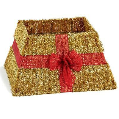 Premier Christmas Box Style Tinsel Tree Skirt - Gold with Red Bow Design