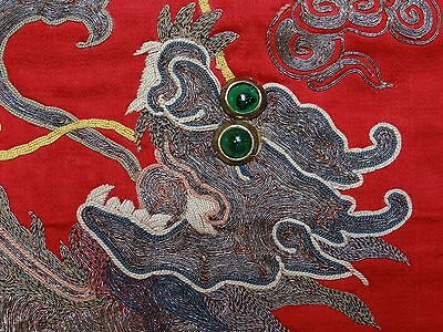 19th C. Qing [Ching] Dynasty Chinese Silk Embroidered Fu-Lion Chair Cover