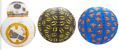 Boys Bedroom Paper Light Shade Lampshades Star Wars BB8 Batman Superman
