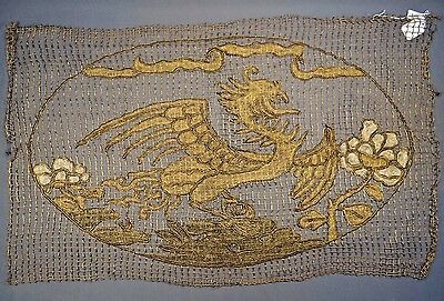 19th C. Qing [Ching] Dynasty Chinese Gold Metallic Phoenix Panel-- UNIQUE!!