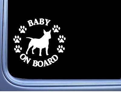 "Baby on Board Bull Terrier L542 6"" Sticker dog decal"