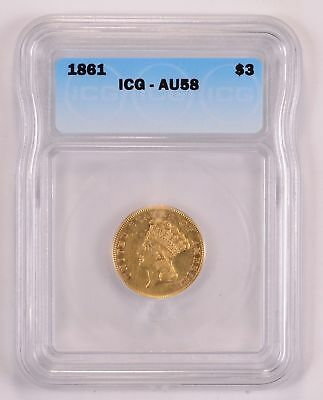 AU58 1861 $3.00 Gold Indian Princess Head - ICG Graded *1817