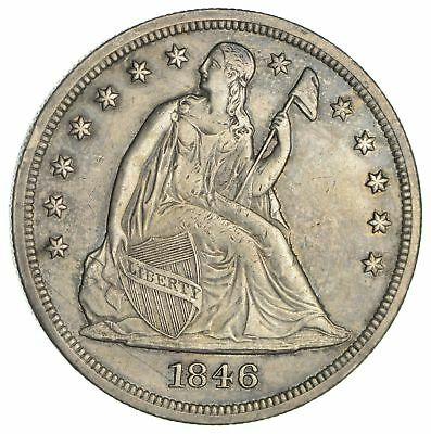 1846 Seated Liberty Silver Dollar - Circulated *1876