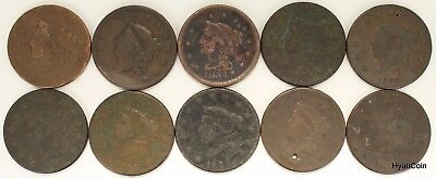 Lot of 10 Draped Bust & Braided Hair Large Cent Copper 1C Mixed Dates