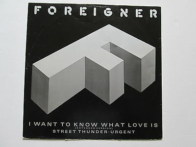 """Foreigner 12"""" 45 rpm Stereo Vinyl Single I Want To Know What Love Is 1984"""