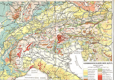 Alpen Landkarte 1897 - Geologische Karte - Mont Blanc - The Alps ancient map
