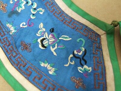 Antique Chinese Embroidered Collar Plum Blossom Bamboo Birds Turquoise Purple