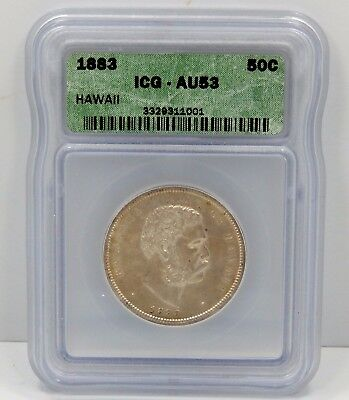 1883 Hawaii Half Dollar - ICG Graded AU53 !!