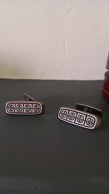 David Andersen Norway Sterling Silver 925S Striking Modernist Cufflinks Vintage