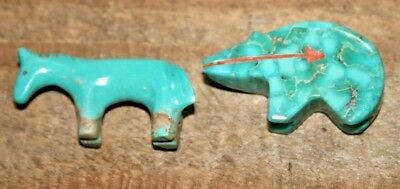 Hand Carved Navajo Native American Zuni Indian turquoise BEAR and HORSE Fetish