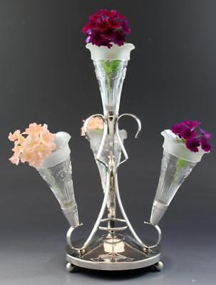 C1910 Victorian Silver Plate Epergne w/ Clear Pressed Glass Vases No Reserve