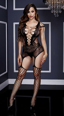 One Size Fits Most Womens Fishnet And Corset Front Suspender Bodystocking,
