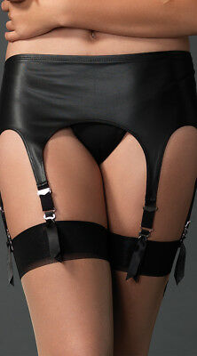 One Size Fits Most Womens Matte Rubber Six Strap Garter Belt, Leather Garter
