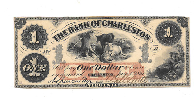 Super Appeal 1861 $1 Bank Of Charleston Virginia Obsolete Currency