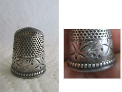 Old Sterling Silver Thimble with stamped design