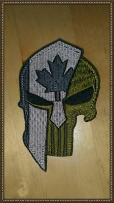 Punisher Spartan Helmet Canada Flag Morale Patch Green Uniform Hook Loop Backing