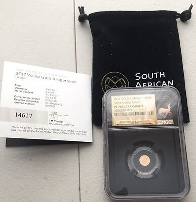 2017 South Africa First 1/50 oz 50th Anniversary Gold Krugerrand NGC PF70 Proof