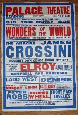 Palace Theatre Reading Vintage 1940's Poster Wonders of the World 30 x 20