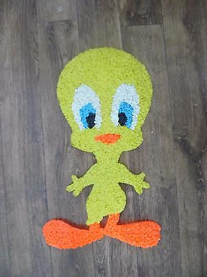 """Vintage Tweety Bird Melted Plastic Popcorn Decoration Wall Hanging 21 by 12"""" NIC"""