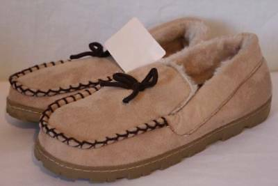 2732a9a75ee59 NEW Womens Slippers Large 10 - 11 Tan Beige Moccasin House Shoes Hard Sole