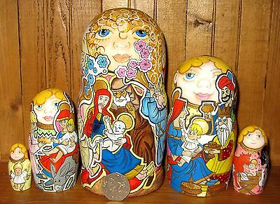Russian Nativity Nesting DOLLS Baby Jesus Mary Joseph ANGEL Matryoshka