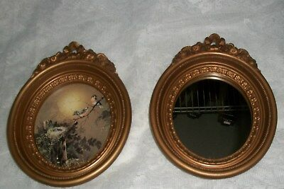 Vintage  # 3279 Homco Bird Picture And Mirror Set Gold Resin Frames 1982