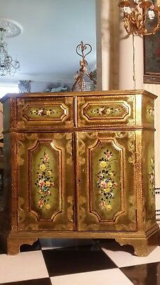 Vintage Italian Venetian Paint Decorated Florentine Roses Sophisticated Cabinet