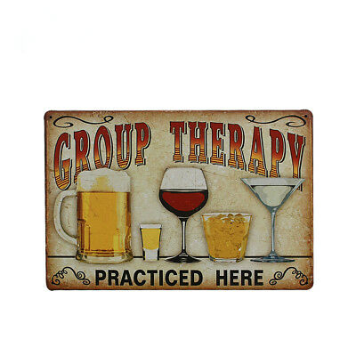 Metal Vintage Tin Plaque Pub Decor Tavern Bar Sign Wall Poster GROUP THERAPY