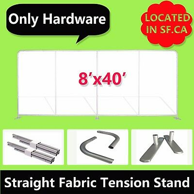 8' x 40ft,Straight Booth Exhibit Show Tension Fabric Tube Display Wall Stand