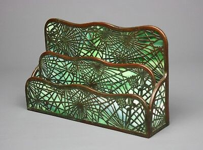 "Antique Tiffany Studios ""Pine Needle"" Letter Rack, Bronze & Glass, Stamped"