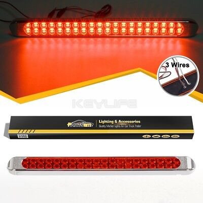 """Submersible Bright Red 40LED Stop Tail Turn 3rd Brake Light Bar Utility 17"""" Inch"""
