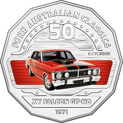 2017 RAM 50c UNCIRCULATED COLOURED COIN FORD CLASSICS 1970-1972 XY GT-HO FALCON