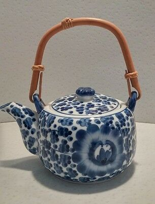 Nice Vintage Blue and White Porcelain Teapot with cherry blossom design
