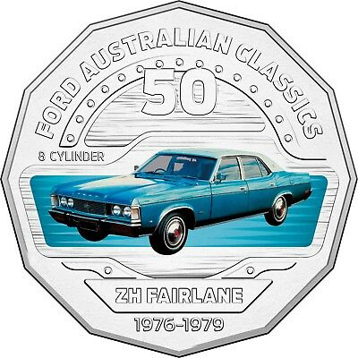 2017 RAM 50c UNCIRCULATED COLOURED COIN FORD CLASSICS - 1976-1979 ZH FAIRLANE