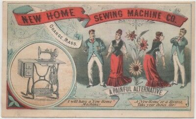 Threatening Divorce New Home Sewing Machine Adv Trade Card c1880 Laconia NH