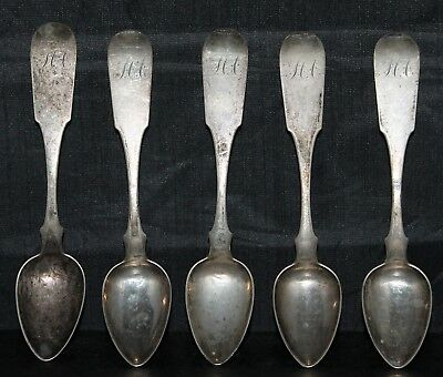 Lot of 5 J. WARNER American Coin Silver Teapsoons 5 3/4""