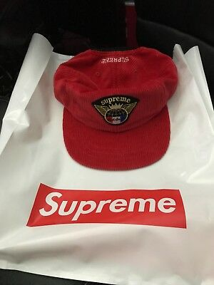 6275ab498a5 Supreme Global Corduroy 6-Panel Hat Red Camp Cap FW17 SOLD OUT IN HAND NEW