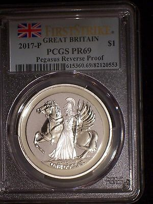 2017 British Virgin Islands $1 1 oz. Reverse Proof Silver Pegasus - PCGS PR69 FS